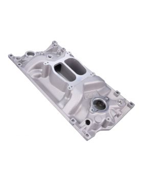 Chevy Small Block Vortec Carbureted Satin Aluminum Dual Plane Intake Manifold