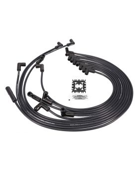Chevy Small Block 8.5mm Black Ignition Wires with 90° Black Ceramic Plug Boots