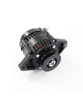 "Black Denso Style 90 Amp Mini Race Alternator with 3/8"" V-Belt Pulley"