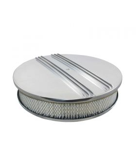 TSP_Flat_Base_Round_Air_Cleaner_Kit_Center_Finned_Polished_Aluminum_SP6340