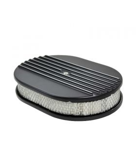 TSP_Flat_Base_12_Oval_Air_Cleaner_Kit_Half_Finned_Black_Aluminum_SP6490BK