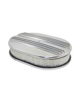 TSP_Flat_Base_12_Oval_Air_Cleaner_Kit_Center_Finned_Polished_Aluminum_SP6496