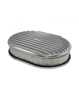 TSP_Flat_Base_12_Oval_Air_Cleaner_Kit_Finned_Polished_Aluminum_SP6498