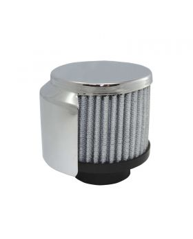 TSP_Round_1-3-8_Clamp-On_Washable_Filter_No-Lip_Breather_With_Shield_Chrome_Steel_SP7180