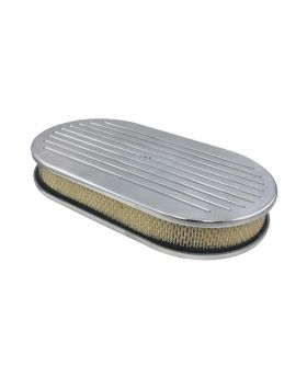 TSP_Flat_Base_Paper_Filter_15_Oval_Air_Cleaner_Kit_Ball_Milled_Polished_Aluminum_SP8407