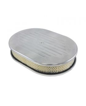 TSP_Flat_Base_Paper_Filter_12_Oval_Air_Cleaner_Kit_Ball_Milled_Polished_Aluminum_SP8411