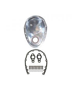 TSP_Chevy_Small_Block_Long_Water_Pump_Timing_Chain_Cover_Kit_Polished_Aluminum_SP8420KIT