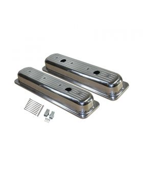 TSP_Chevy_Small_Block_Center-Bolt_Short_Valve_Covers_With_Three_Breather_Holes_Polished_Ball_Milled_Aluminum_SP8460