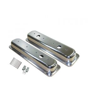 TSP_Chevy_Small_Block_Center-Bolt_Short_Valve_Covers_With_Three_Breather_Holes_Polished_Smooth_Aluminum_SP8464