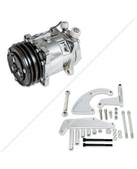 Sanden 508 Style Black Clutch V-Belt A/C Compressor and Bracket Kit